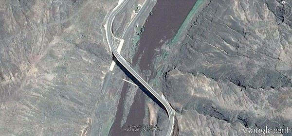 Lesotho Current Google Earth Image of the bridge over the Senqu, you can still see the old causeway under the bridge
