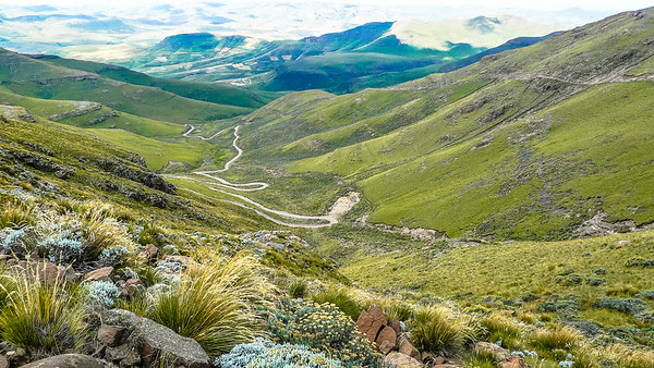 Lesotho The other (Sehlabathebe) side leading down from Mathabeng pass