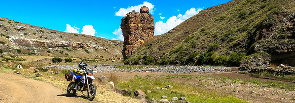 Lesotho I have seen this rock on a few Lesotho Ride Reports and I really wanted a pic with my bike at this rock......Done!
